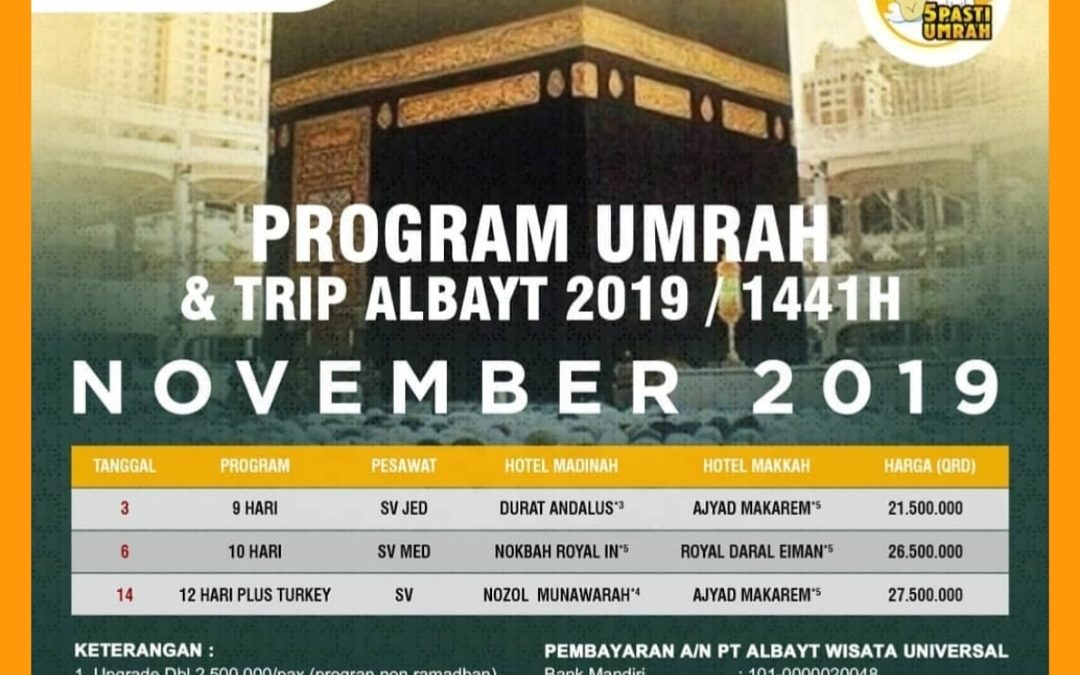 PROGRAM UMROH DAN TRIP NOVEMBER 2019